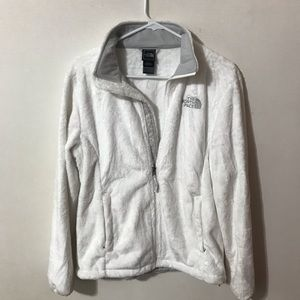 North face white fuzzy zip up jacket